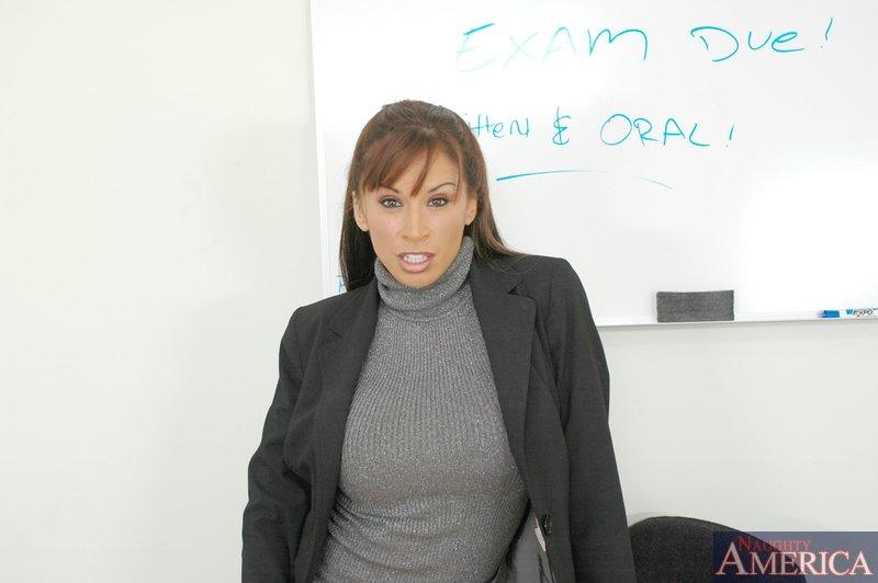 Stunning mature teacher Devon Michaels fondles big tits and pussy