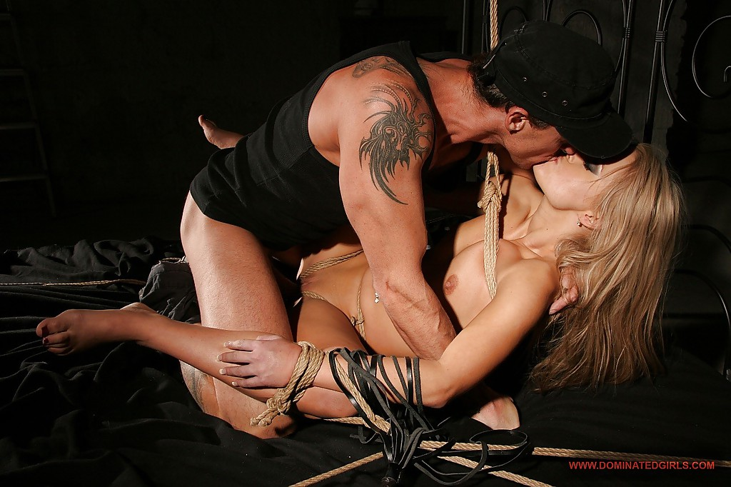 Slim blonde is into hardcore BDSM fucking action with spanking