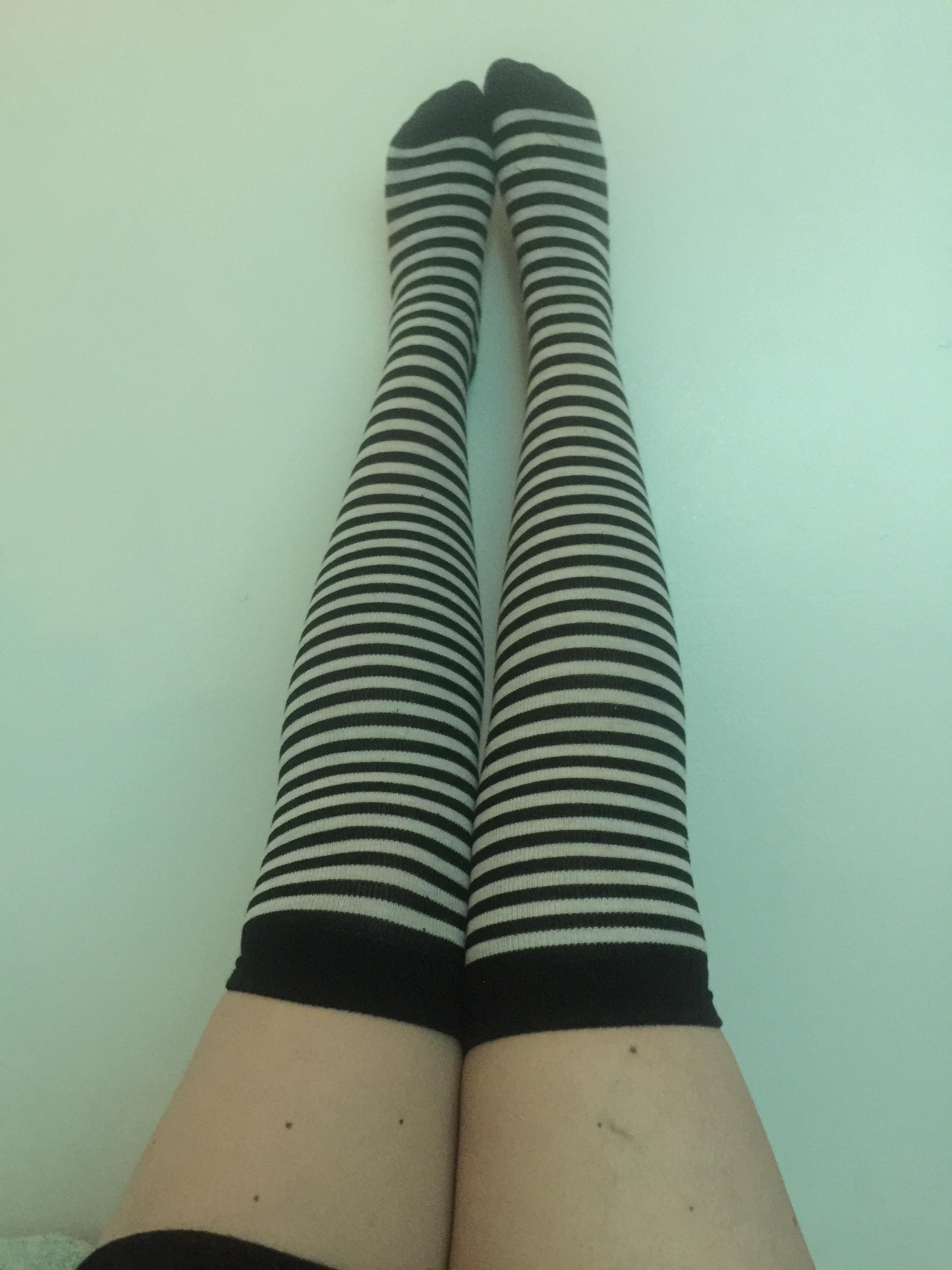 Recently reached my weight loss goal of being able to wear over the knee socks. Feels cute.