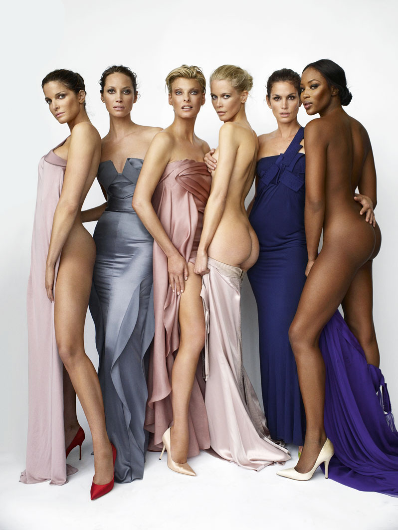 Stephanie Seymour, Christy Turlington, Linda Evangelista, Claudia Schiffer, Cindy Crawford, Naomi Campbell