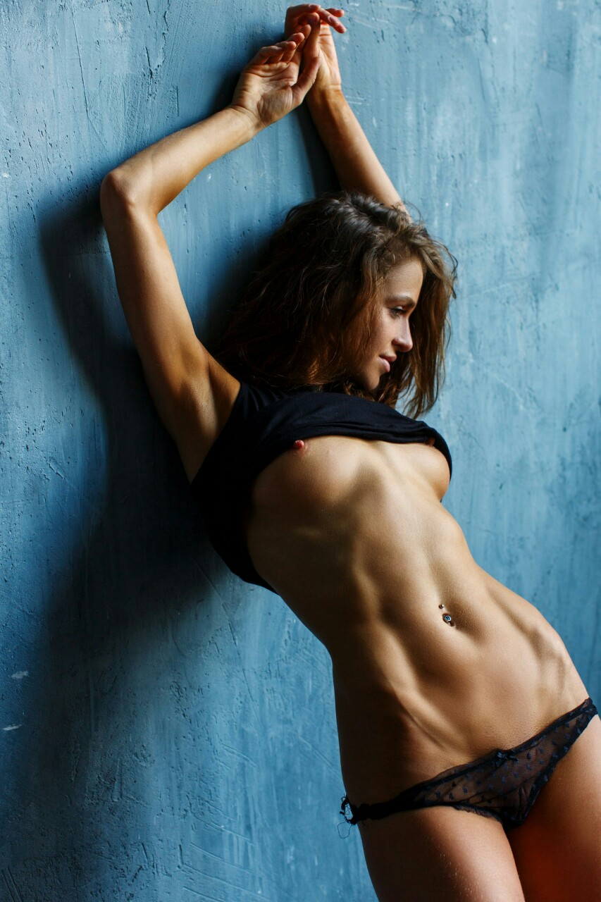 Sexy brunette with abs
