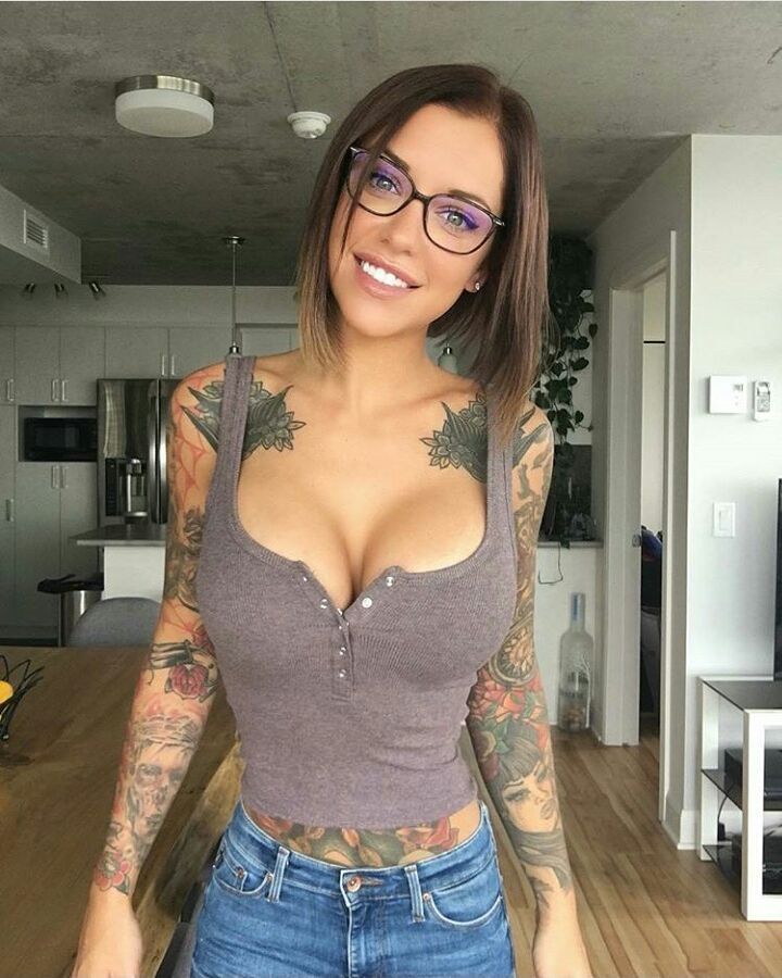 Perfect brunette with tattoos