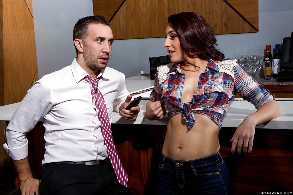 Lucky dude is receiving the best blowjob from an clothed babe Mischa Brooks