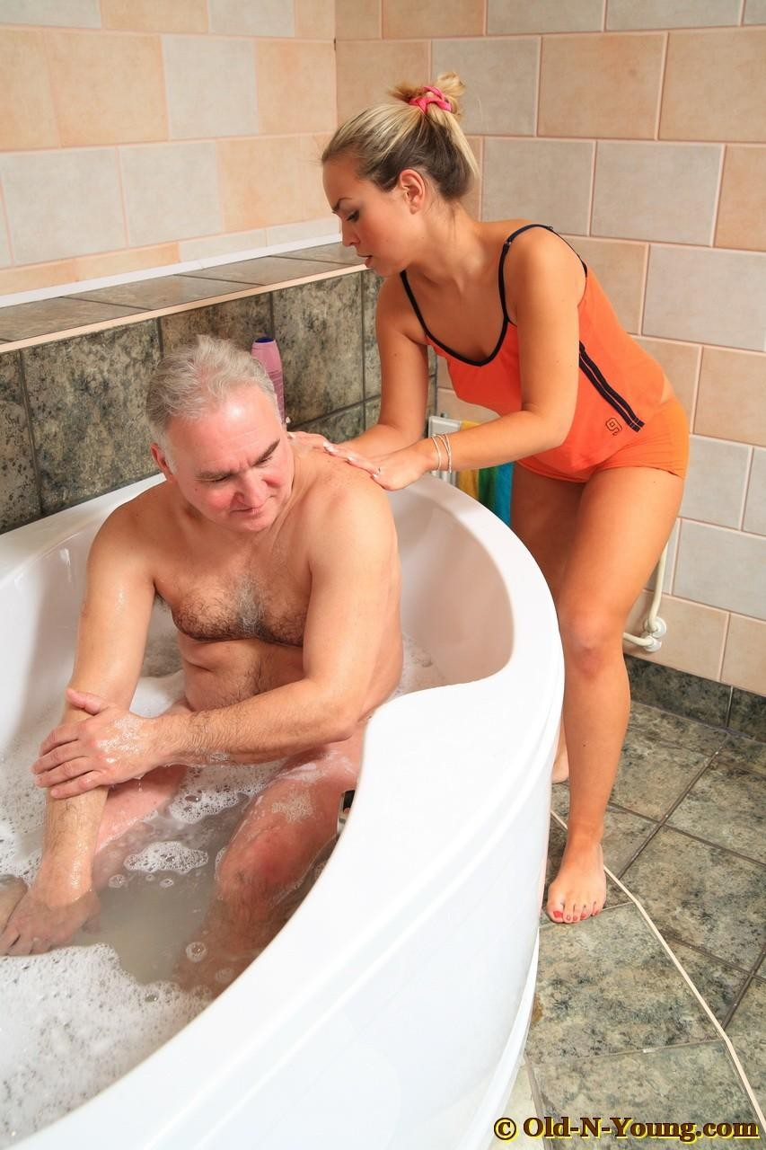 This horny old fart got seduced by a young chick at the sauna