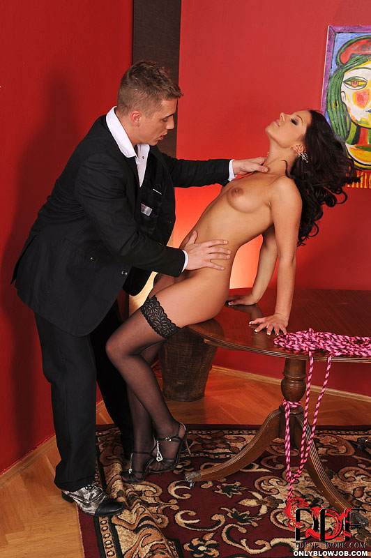 Angel Rivas is stripped down to stockings for messy blowjob and deepthroat
