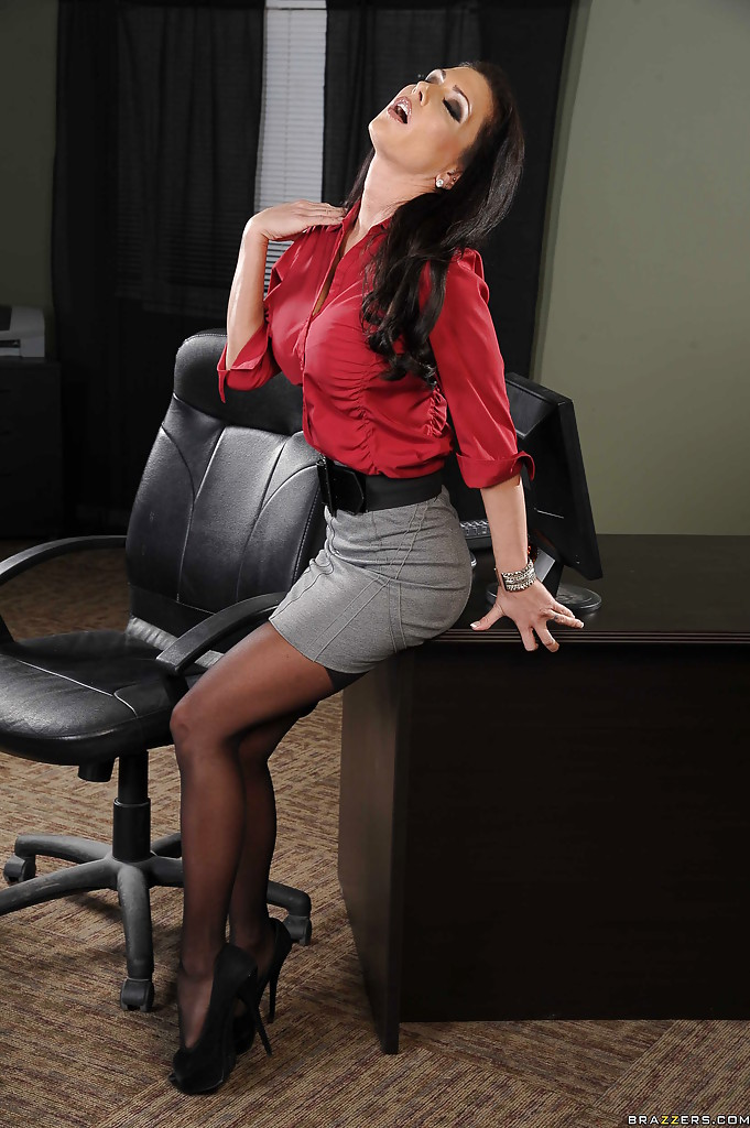 Smoking hot office babe in stockings stripping and fingering her asshole