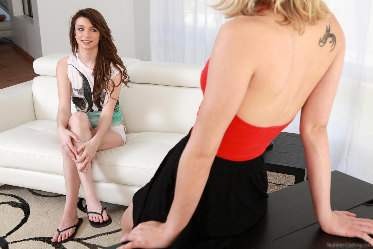 Dakota Skye interviews Aspen Ora and has her fuck and suck for a spot on Nubiles