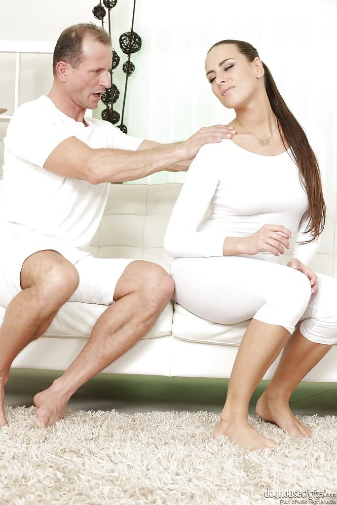 Beautiful leggy brunette Mea Malone having nice ass oiled and massaged