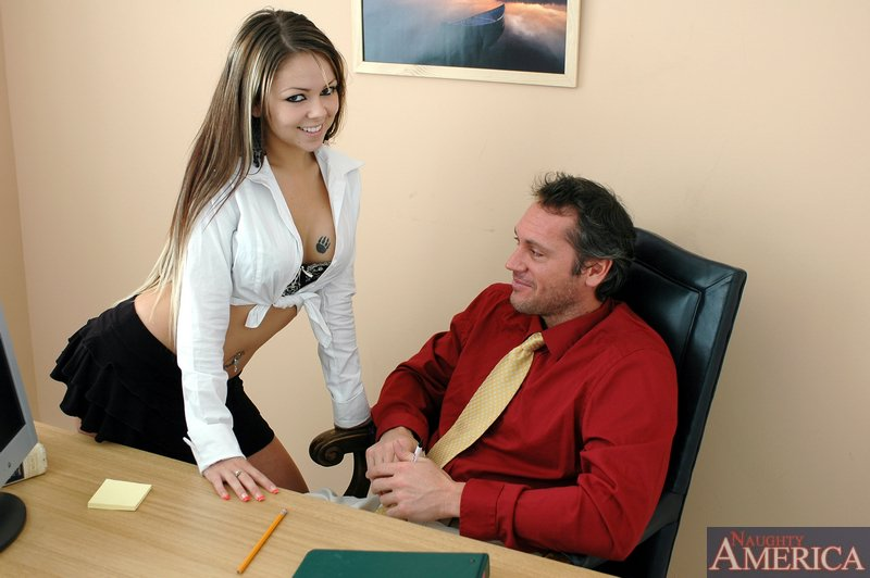 Sexy babe with amazing juggs Julia Bond fucking in the office