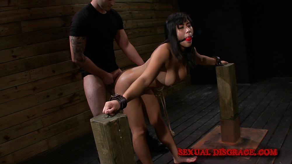 Bondage and messy cum facials