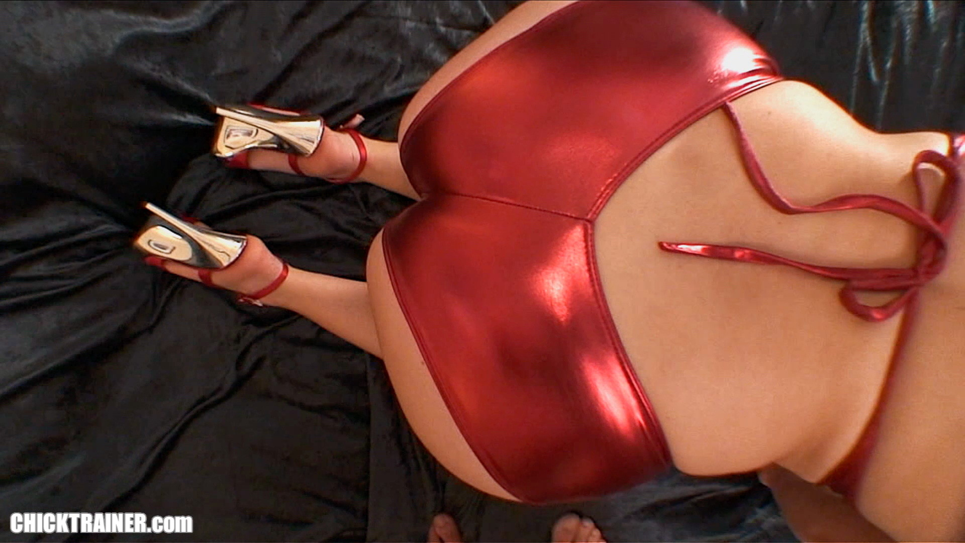 Big boobs amateur girlfriend fucking in red hotpants high heels