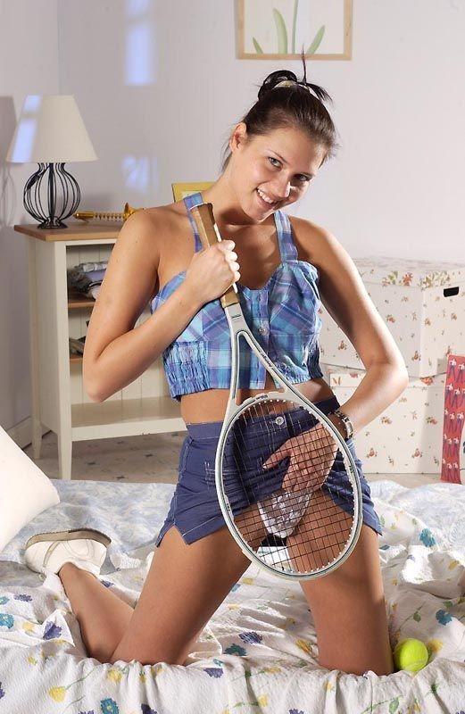 Horny tennis teen masturbates her shaved puss