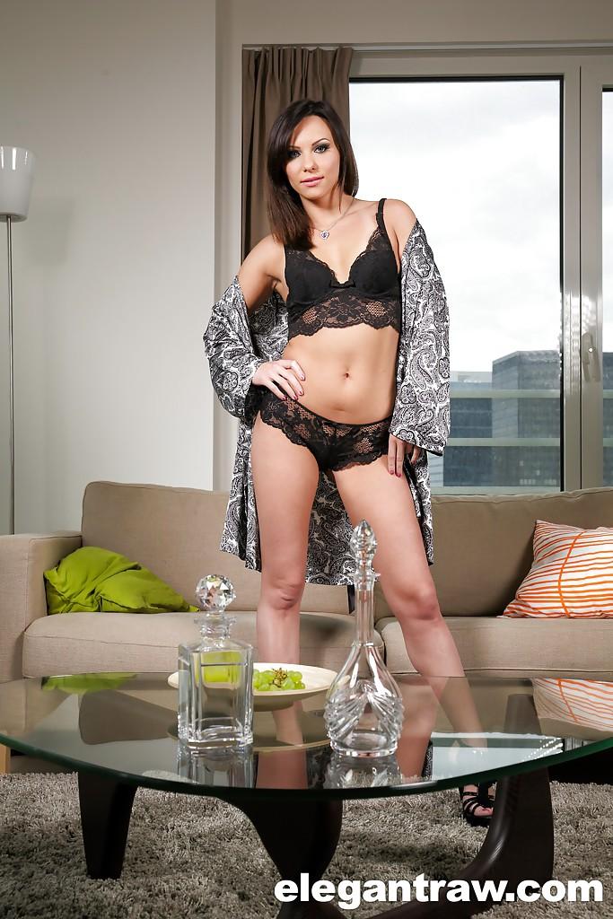 Brunette solo girl Alysa Gap slipping panties over MILF pornstar ass