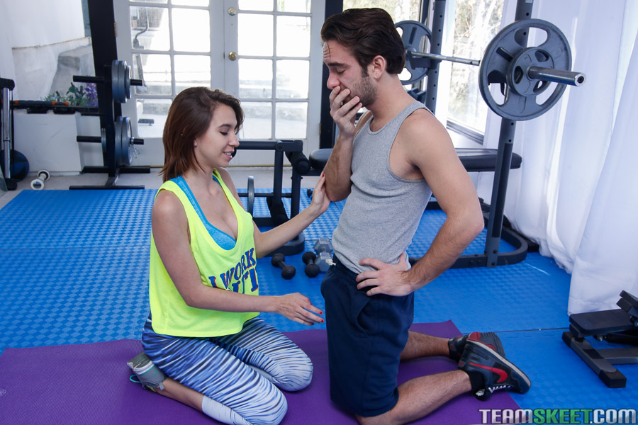 Busty Italian chick Cece Capella giving blowjob on knees in gym