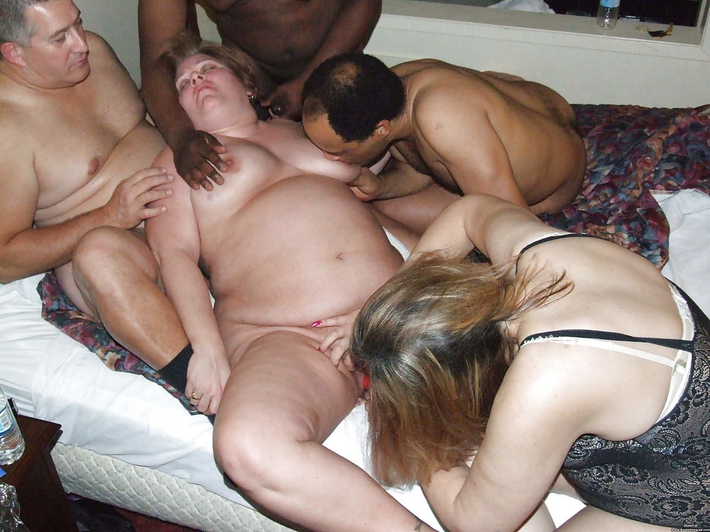 Mature swingers invite a young couple to a threesome with a disco