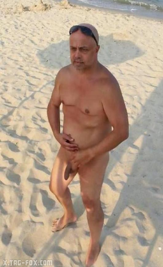 Exposed fully naked at public beach